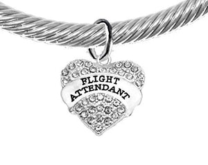 Airline Flight Attendant, Hypoallergenic Genuine Cable with Crystal Ends Charm Bracelet, Nickel Free