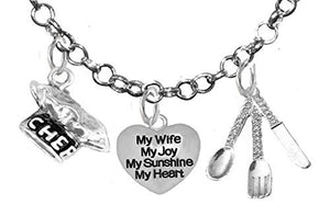 Cooking Jewelry, My Mom, My Joy, My Sunshine, My Heart, Chef Hat, Silverware, Adjustable Necklace