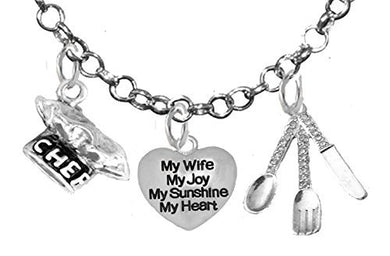 Cooking Jewelry, My Wife, My Joy, My Sunshine, My Heart, Chef Hat, Silverware, Adjustable Necklace