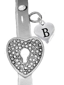 "It Really Locks! The Key to My Heart, ""Initial B"", Cuff Crystal Bracelet - Safe, Nickel & Lead Free"