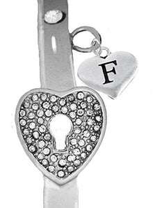 "It Really Locks! The Key to My Heart, ""Initial F"", Cuff Crystal Bracelet - Safe, Nickel & Lead Free"