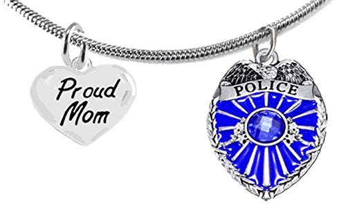 "policeman's, proud ""mom"", adjustable necklace - safe, nickel, lead & cadmium free"