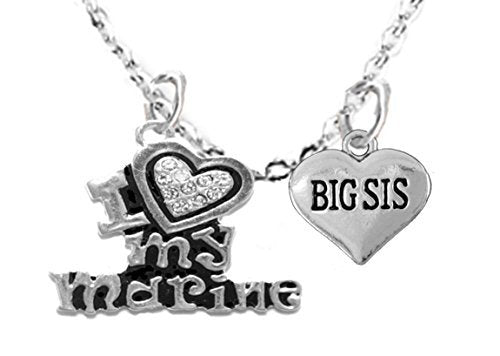 "marine ""big sis"", children's adjustable necklace, hypoallergenic, safe - nickel & lead free"