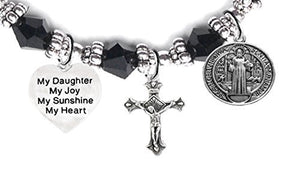 "Saint Benedict Charm, My ""Daughter"", My Joy, My Sunshine, My Heart & Prayer Black Crystal Bracelet"