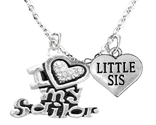 "navy, ""little sis"", children's adjustable necklace, hypoallergenic, safe - nickel & lead free"