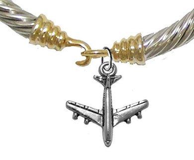 Jet Airplane, Hypoallergenic Genuine Cable Two Tone Silvertone/ Goldtone Charm Bracelet, Nickel Free