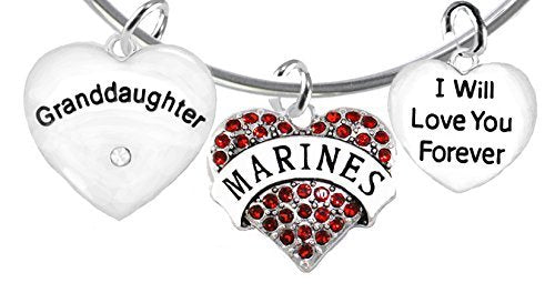 """marine granddaughter"""", i will love you forever, safe - nickel & lead free"""