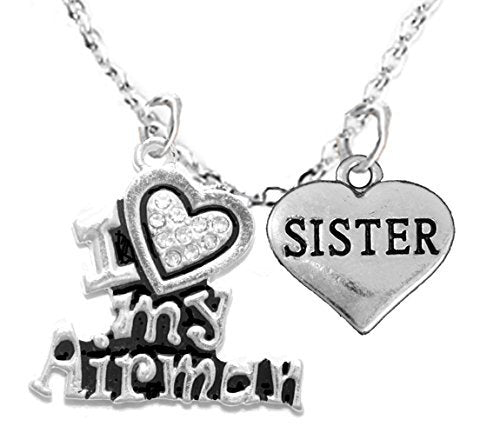 """air force, """"sister"""", children's adjustable necklace, hypoallergenic, safe - nickel & lead free"""