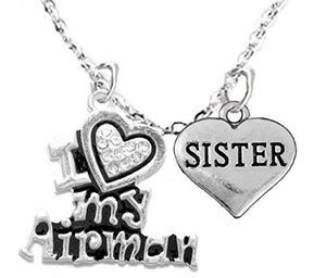 "Air Force, ""Sister"", Children's Adjustable Necklace, Hypoallergenic, Safe - Nickel & Lead Free"
