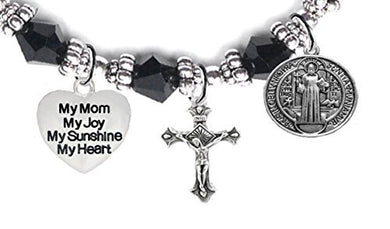Saint Benedict Charm, My Mom, My Joy, My Sunshine, My Heart, And Prayer Black Crystal Bracelet