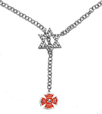 Jewish Firefighter's Wife, on Star of David, Necklace, Safe - Nickel & Lead Free