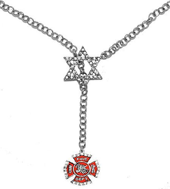 Jewish Firefighter, on Star of David, Necklace, Safe - Nickel & Lead Free