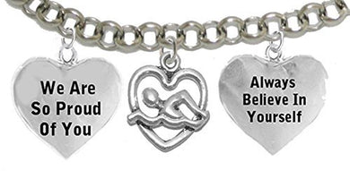 Always Believe in Yourself 3 Charm Swimming Bracelet, Safe - Nickel & Lead Free