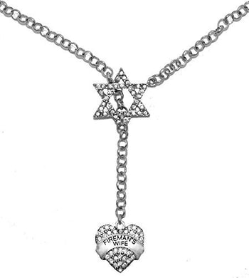Jewish Fireman's Wife, on Star of David, Necklace, Safe - Nickel & Lead Free