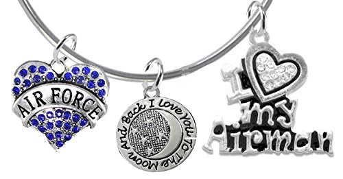 "air force ""i love you to the moon & back"", i love my airman, adjustable miracle wire bracelet - safe"