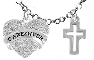 Caregiver, RN, Nurse, High Polished Cross, Adjustable Charm Necklace, Safe - Nickel & Lead Free