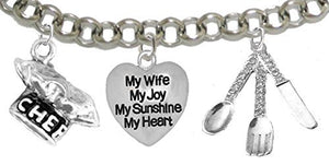 Cooking Jewelry, My Wife, My Joy, My Sunshine, My Heart, Chef Hat, Silverware, Adjustable Bracelet