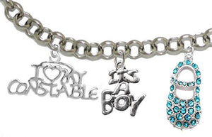 "Constable's Mom to Be, ""It's A Boy"", Bracelet, Hypoallergenic, Safe - Nickel & Lead Free"