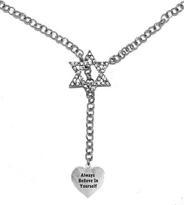 "Jewish "" Always Believe in Yourself "" Heart, on Star of David, Necklace, Safe - Nickel & Lead Free"