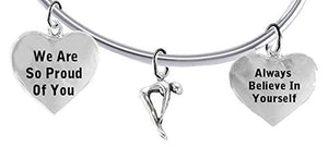 "Always Believe in Yourself, Swimming"" 3 Charm Adjustable Bracelet, Safe - Nickel & Lead Free"