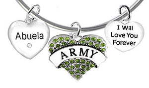 Army Abuela, I Will Love You Forever, Hypoallergenic, Safe - Nickel & Lead Free