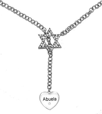 Jewish Abuela Heart with Crystal Stone, on Star of David, Rolo Chain Necklace, Safe