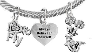 "Cheer, Always Believe in Yourself, ""I Love to Fly"", Jumping Cheerleader Genuine Cable Charm Bracelet"