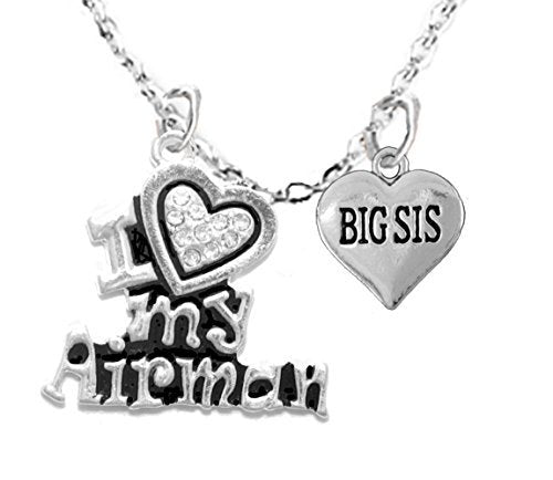 "air force, ""big sis"", children's adjustable necklace, hypoallergenic, safe - nickel & lead free"