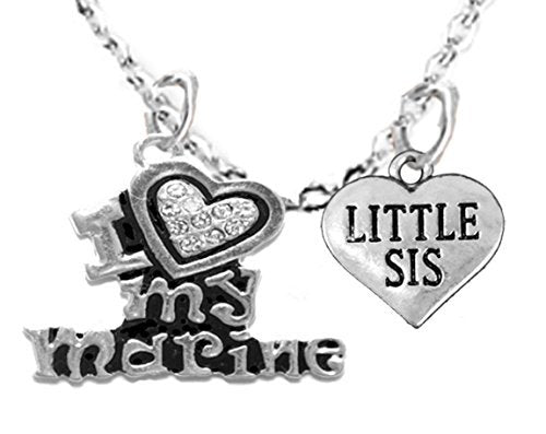 "marine ""little sis"", adult adjustable necklace, hypoallergenic, safe - nickel & lead free"