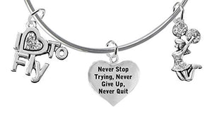 "Crystal, ""I Love to Fly"", Crystal Never Stop Trying, Give Up, or Quit, Jumping Cheerleader Bracelet"