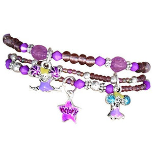 "Children's ""Cheer"" Charm Bracelets (3 Bracelets Tied with Ribbon in Package), Purple - Nickel Free"