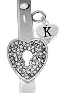 "It Really Locks! The Key to My Heart, ""Initial K"", Cuff Crystal Bracelet - Safe, Nickel & Lead Free"