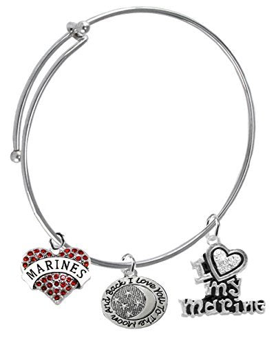 "marine, ""i love you to the moon & back"", crystal i love my marine, adjustable miracle wire bracelet"
