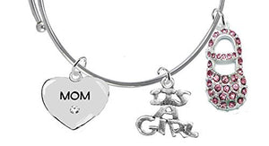 "Baby Shower Gifts, ""Mom"", ""It's A Girl"", Bracelet, Hypoallergenic, Safe - Nickel & Lead Free"