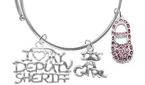 "Deputy Sheriff's Wife's, ""It's A Girl"", Bracelet, Hypoallergenic, Safe - Nickel & Lead Free"