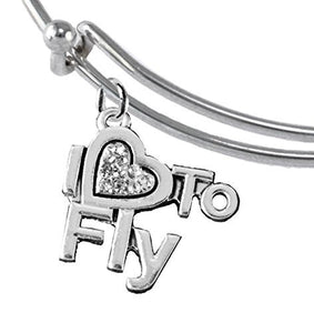 I Love to Fly, Hypoallergenic Genuine Crystal, Adjustable Miracle Wire Charm Bracelet, Nickel Free