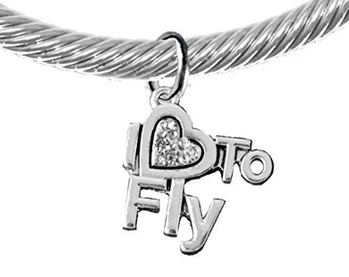 I Love to Fly, Adjustable, Hypoallergenic Genuine Cable Silvertone Charm Bracelet, Nickel Free
