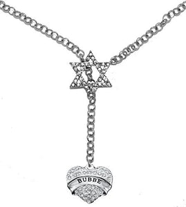 "Jewish ""Bubbe"" Rolo Chain Necklace, Crystal Heart and Star of David, Safe - Nickel & Lead Free"