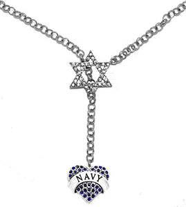 Jewish Navy Crystal Heart, on Star of David, Rolo Chain Necklace, Safe - Nickel & Lead Free
