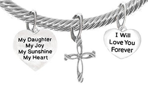 "My ""Daughter"", My Joy, My Sunshine, My Heart ""I Will Love You Forever"" Contemporary Cross, Bracelet"