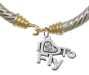 I Love to Fly, Hypoallergenic Genuine Cable Gold/ Silvertone Charm Bracelet, Nickel & Lead Free