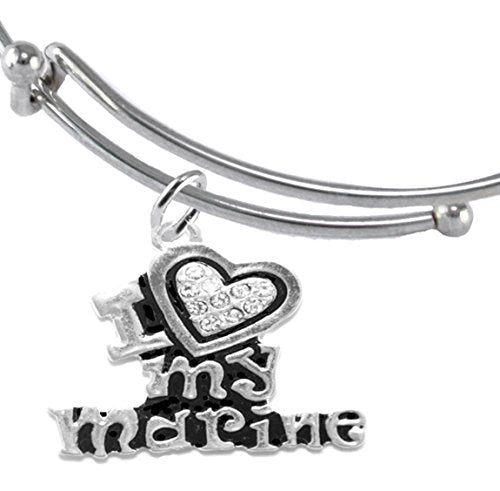 marine i love my marine, crystal heart bracelet, hypoallergenic, safe - nickel & lead free