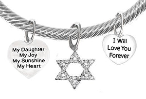 "Jewish ""My ""Daughter"", My Joy, My Sunshine, My Heart"" ""I Love You Forever"" on Crystal End Bracelet"