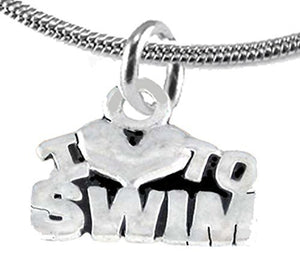 I Love Swimming, Adjustable Necklace, Hypoallergenic, Safe - Nickel & Lead Free