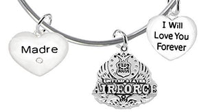 "Madre, I Will Love You Forever, ""Air Force"", Safe - Nickel & Lead Free"
