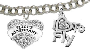 "Flight Attendant, ""I Love to Fly"", Genuine Crystal, Adjustable Rolo Chain Charm Bracelet"