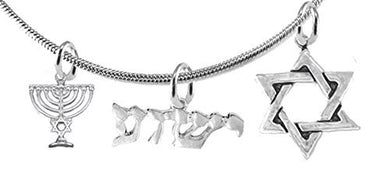 YESHUA (JESUS IN HEBREW) With Menorah & Star of David, Messianic, Snake Chain Necklace