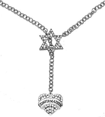 Jewish Confirmation Crystal Heart, on Star of David, Rolo Chain Necklace, Safe - Nickel & Lead Free