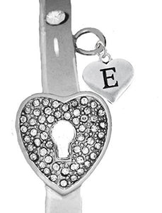"It Really Locks! The Key to My Heart, ""Initial E"", Cuff Crystal Bracelet - Safe, Nickel & Lead Free"