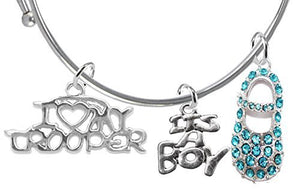 "Trooper's Wife's Baby Shower Gifts, ""It's A Boy"", Adjustable Bracelet - Safe, Nickel & Lead Free"